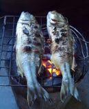 Fishes roasting Royalty Free Stock Photo
