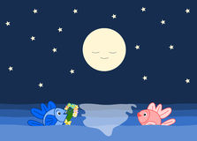 The fishes and the romantic night cartoon illustration Royalty Free Stock Photo