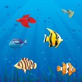 Fishes in sea. Layered illustration Stock Photography