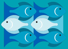 Fishes in the sea. Illustration of sea waves and fishes Royalty Free Stock Photography