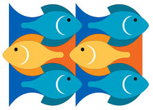 Fishes in the sea. Illustration of sea waves and fishes Royalty Free Stock Images