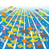 Fishes in sea depths Stock Image