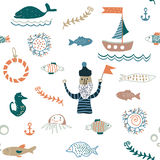 Fishes and sea food seamless pattern - nice design Stock Photos