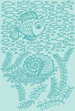 Fishes in sea with shell and seaweed Royalty Free Stock Photos