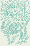 Fishes in sea with shell and seaweed. Stock Image