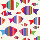 Fishes seamless funny pattern Stock Photography