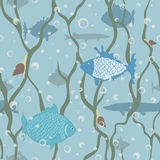 Fishes seamless pattern. Seamless vector pattern with underwater world Royalty Free Stock Image