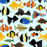 Fishes seamless pattern. Cute cartoon aquarium fish animals background for kids vector illustration print. Tropical exotic fishes underwater diving Royalty Free Stock Photo
