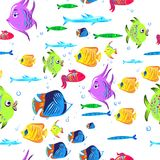 Fishes seamless pattern. Cute cartoon aquarium fish animals background for kids vector illustration print. Tropical exotic fishes underwater Royalty Free Stock Images