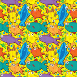 Fishes Seamless Pattern_eps. Illustration of fishes seamless pattern on yellow background Stock Image
