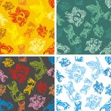 Fishes seamless pattern set - vector illustration Stock Photos
