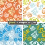 Fishes seamless pattern set - vector illustration Stock Image