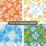 Fishes seamless pattern set - vector illustration royalty free illustration