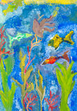 Fishes and seaweeds in sea by watercolor Royalty Free Stock Photos
