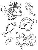 Fishes a set of vector symbols. Royalty Free Stock Photography