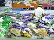 Fishes Sold in a Supermarket Royalty Free Stock Photos