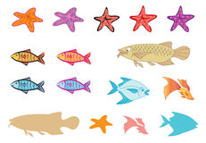 Fishes, starfish, silhoutte Royalty Free Stock Photography