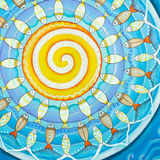 Fishes and sun, subaquatic mandala painting Stock Photo