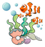 Fishes under the sea with a pearl Stock Image