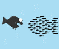 Fishes unite fight with big fish. Vector illustration Stock Photography