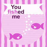 Fishes Valentines Day Card. Pink valentines day card with message: You Fished Me Stock Photo