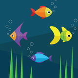 Fishes and water. Fishes and water illustration Royalty Free Stock Image