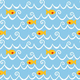 Fishes and waves seamless background Stock Image