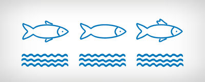 Fishes and waves stock illustration