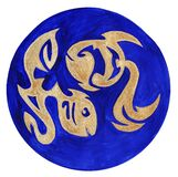 Fishes Zodiac Symbol. Watercolor Illustration.The zodiac icon. Astrology.