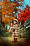 Fisheye. Fifsheye autumn trees and a girl walking on the bridge Stock Image