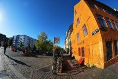 Οδός στην Κοπεγχάγη, fisheye πυροβολισμός Στοκ εικόνες με δικαίωμα ελεύθερης χρήσης
