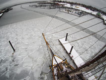 Fisheye aerial view from aloft on tallship in ice Royalty Free Stock Photos