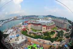 Fisheye aerial view of Singapore Sentosa island Royalty Free Stock Photography