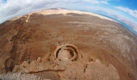 Fisheye Ansicht der Wüstenlandschaft nahe dem Toten Meer stockfoto