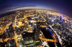 Fisheye-Ansicht von Melbourne CBD, Australien Stockbild