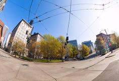Fisheye-Ansicht von Seattle-Stadt während der Sommerzeit Lizenzfreie Stockbilder