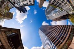 Fisheye-Ansicht von Wolkenkratzern in Seattle, USA Lizenzfreies Stockbild
