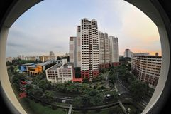 Fisheye of apartment blocks. Fisheye shot of apartment blocks Stock Photos