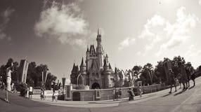 Fisheye av slotten i den disney världen Arkivbild