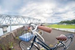 Fisheye Bicycle and Bridge Stock Photos