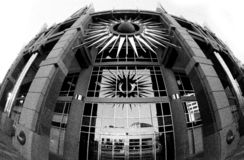 Fisheye Buildings. Downtown phoenix black and white building shot with a fisheye lens Royalty Free Stock Photos