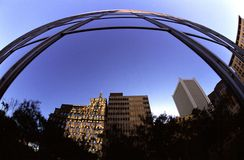 Fisheye Buildings. Downtown phoenix buildings shot with a fisheye lens stock photos