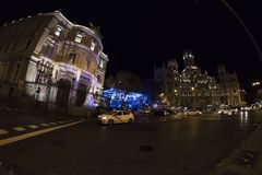 Fisheye. Christmas lights in the streets of the Madrid City, Spa royalty free stock photo
