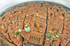 Fisheye cityscape view from two towers, Bologna, Italy Royalty Free Stock Photography
