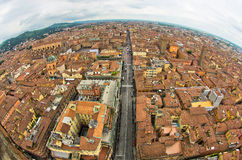 Fisheye cityscape view from two towers, Bologna, Italy Stock Photo