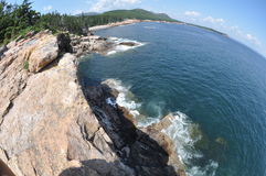 Fisheye cliffs. Fisheye image of sea cliffs in Acadia National Park, Maine, USA royalty free stock images