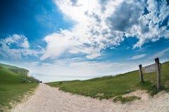 Fisheye con playas de Cliff Edge de la cabeza Foto de archivo