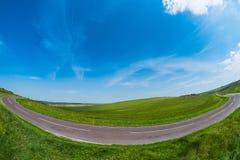 Fisheye da curvatura da estrada Fotografia de Stock