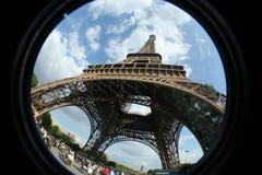 Fisheye de la torre Eiffel Foto de archivo
