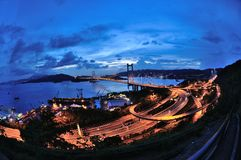Fisheye de Tsing Ma Bridge Foto de Stock Royalty Free